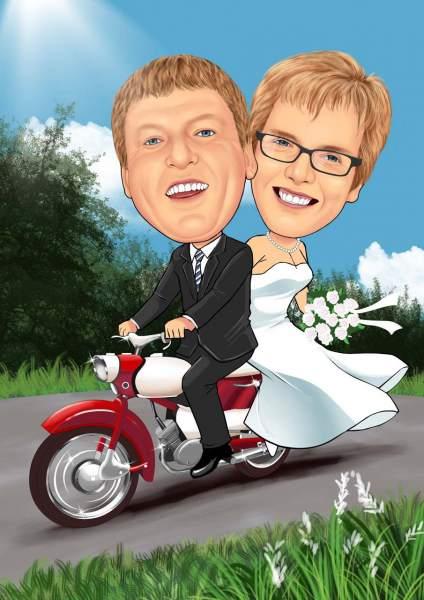Hochzeitspaar auf zwei Rädern