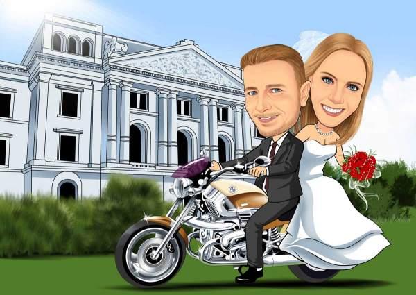 Meine Braut auf dem Motorrad