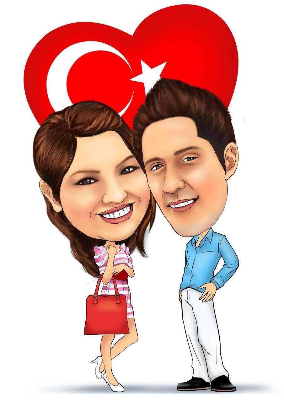 Karikatur mit türkische Liebe