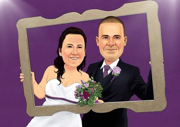 Hochzeitspaar mit einem Bilderrahmen