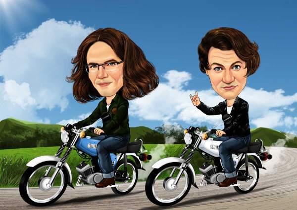 Zwei Freunde mit einem Motorrad