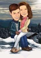 Verliebtes Paar in den Bergen