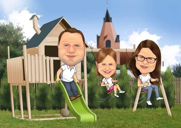 Auf dem Spielplatz mit meinen Eltern