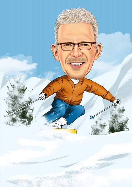 Mit dem Ski den Berg hinab