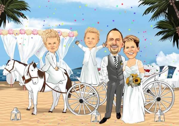 Hochzeit mit einer Kutsche