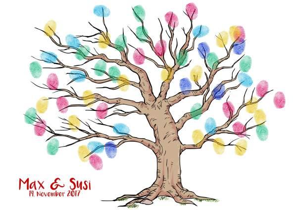 beliebter Fingerabdruck Baum Hochzeit