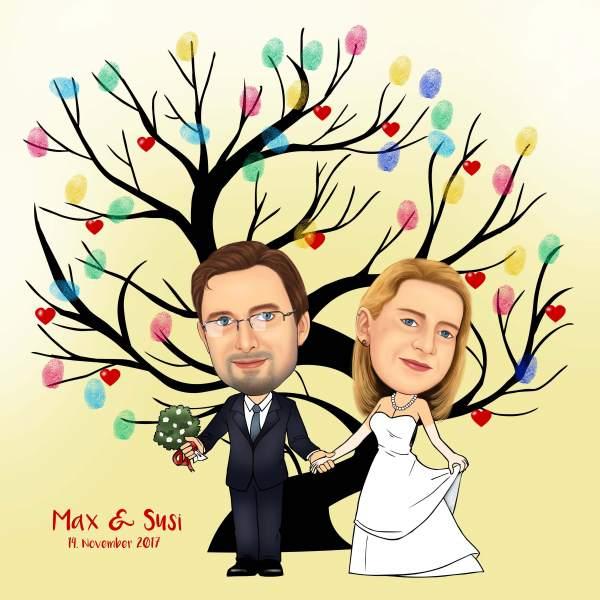 Fingerabdruck Baum Hochzeit Fruchtbaum
