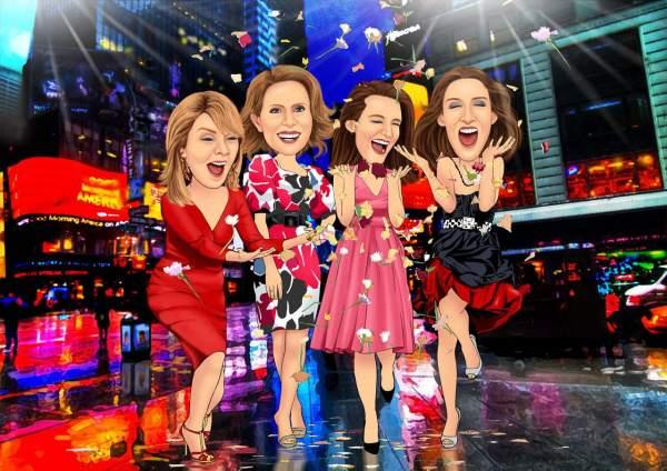 Vier euphorische Frauen