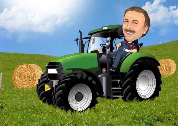 Traktor mit Heuballen