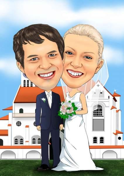Hochzeitsfoto vor der Kirche