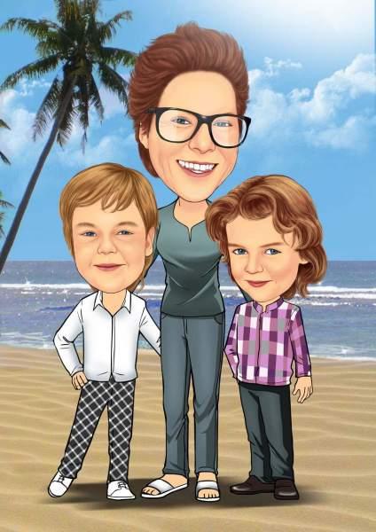 Mutter und ihre Kinder