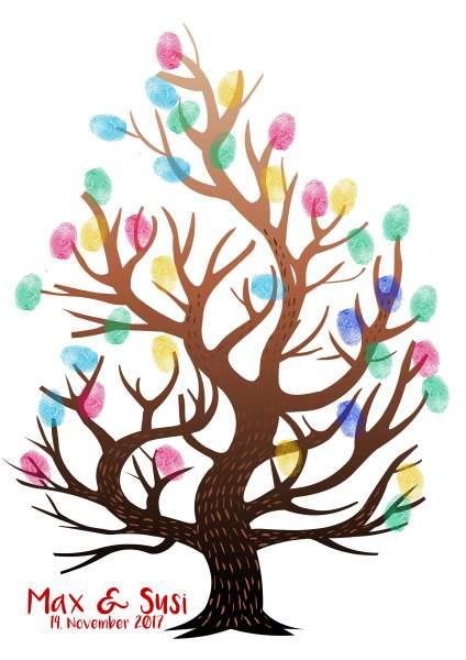Fingerabdruck Baum Verlaufsfarbe braun