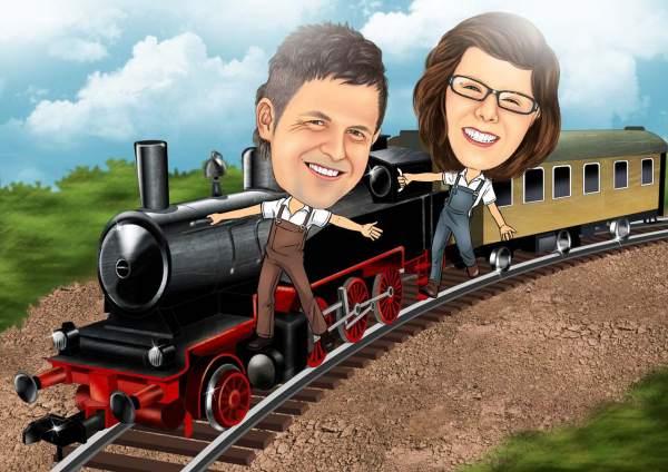 Fröhliches Lokomotive Personal