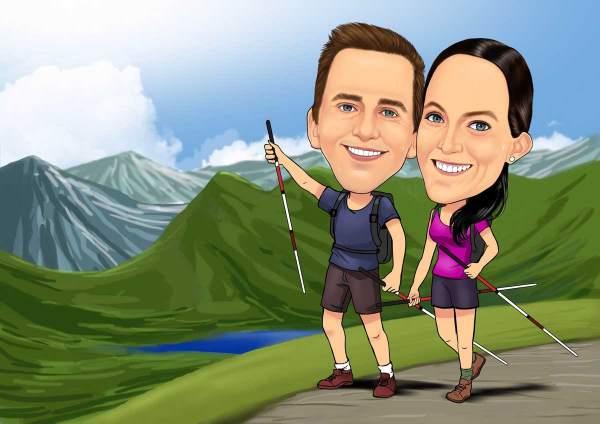 Zwei Wanderer in den Alpen