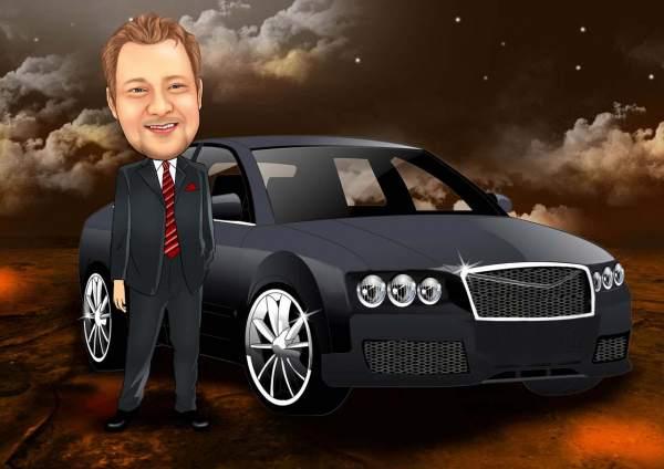 Der Geschäftsmann und sein Auto