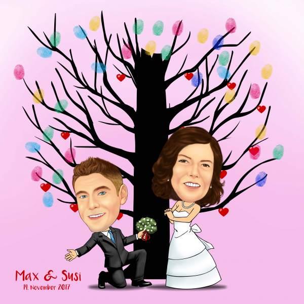 Fingerabdruck Baum Hochzeit Die Liebe trägt Früchte