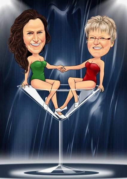 Zwei Ladies im Glas