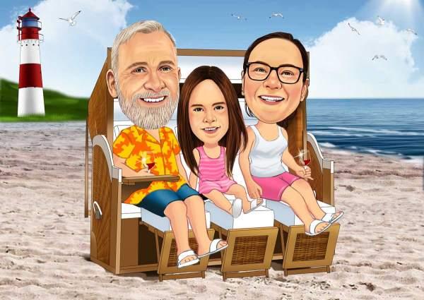 Die Familie im Strandkorb