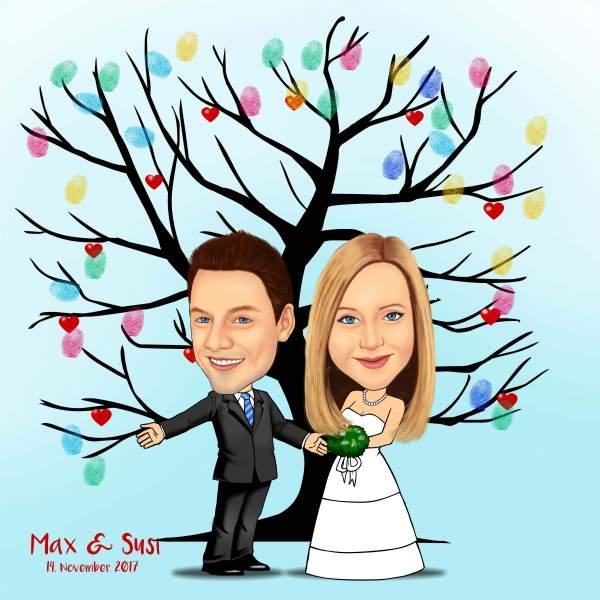 Fingerabdruck Baum Hochzeit Verzweigt