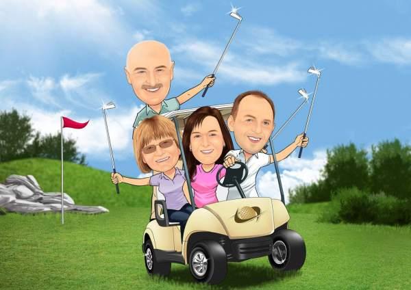 Golfklub auf vier Reifen