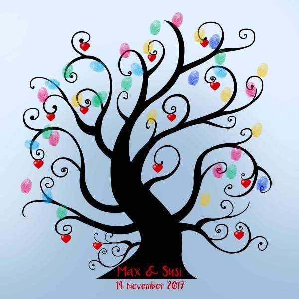Fingerabdruck Baum Hochzeit dicker Liebesbaum