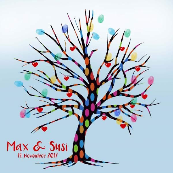 Fingerabdruck Baum Hochzeit blau II