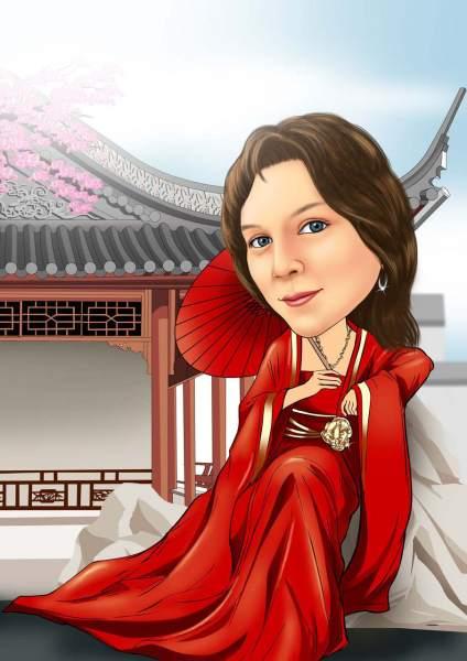 Frau in asiatischer Bekleidung