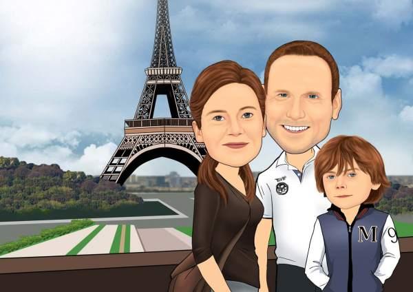 Familienfoto vor dem Pariser Eifelturm