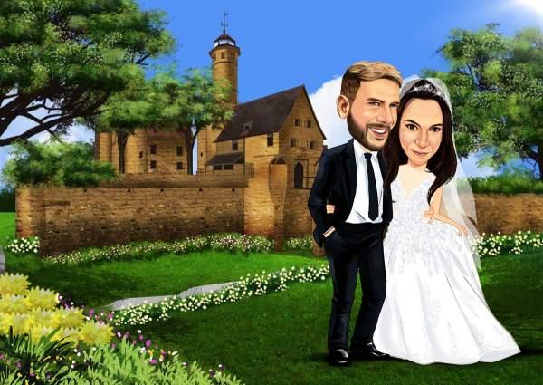 Romantisches Hochzeitsbild am Schloss