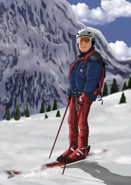 Mit den Ski unterwegs