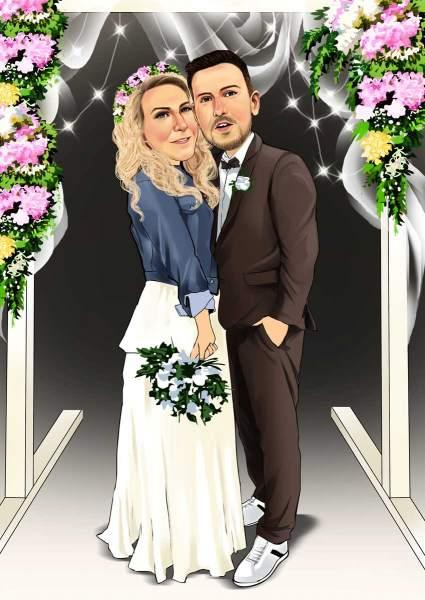 Modernes Hochzeitspaar
