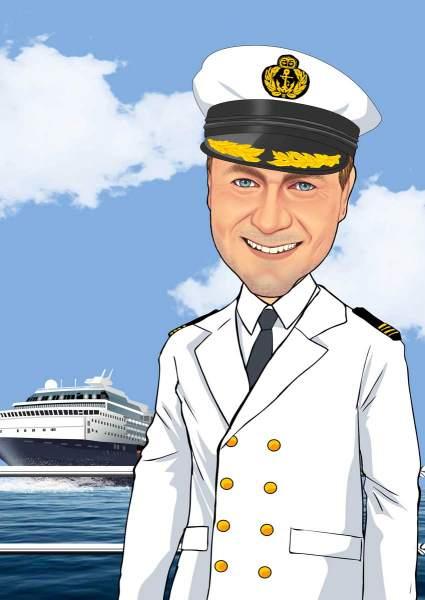 Captain mit Schiff